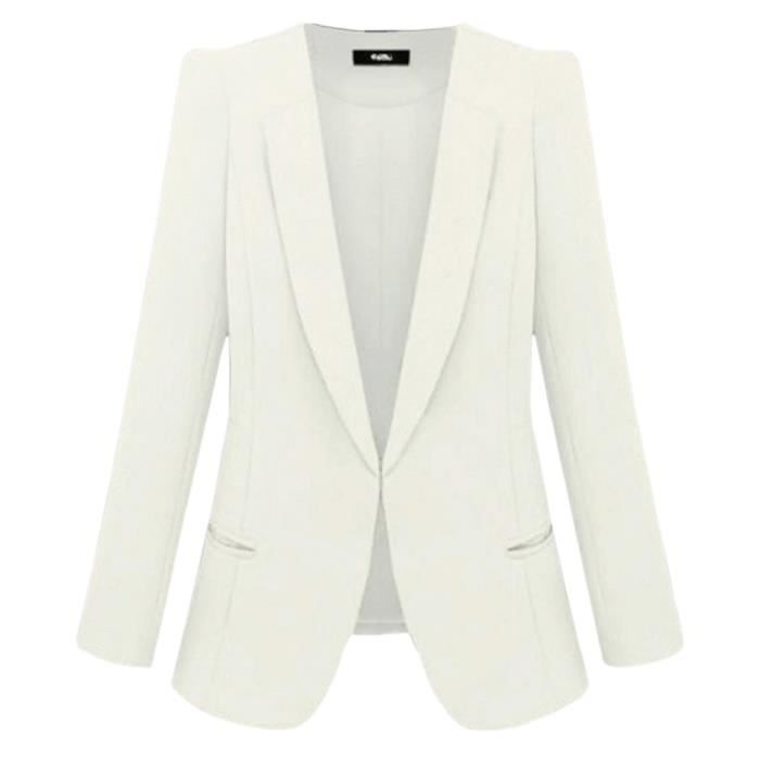 veste blazer femme blanc achat vente veste blazer. Black Bedroom Furniture Sets. Home Design Ideas