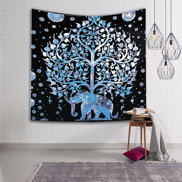 130 150cm Tapisserie Impression Foret Arbre Nature Animaux Style