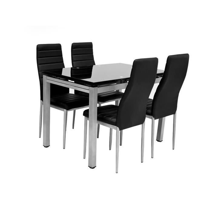 table 4 chaises 2 rallonges plato noir achat vente table a manger complet table 4. Black Bedroom Furniture Sets. Home Design Ideas