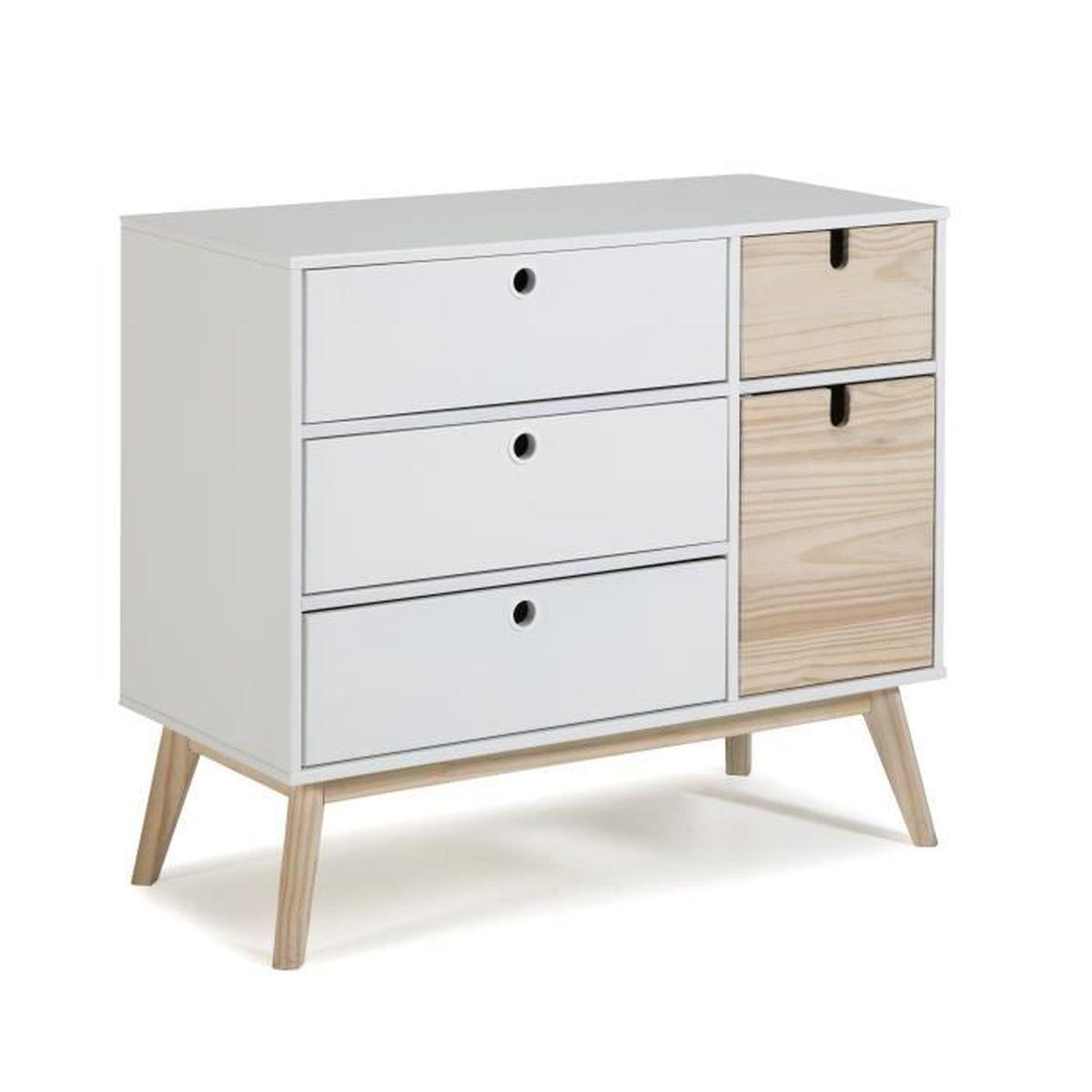 Commode Petite Profondeur 30 Cm ayora commode mdf laqué et pin 1 porte et 4 tiroirs - décor naturel et  blanc - l 90 x p 40 x h 80 cm