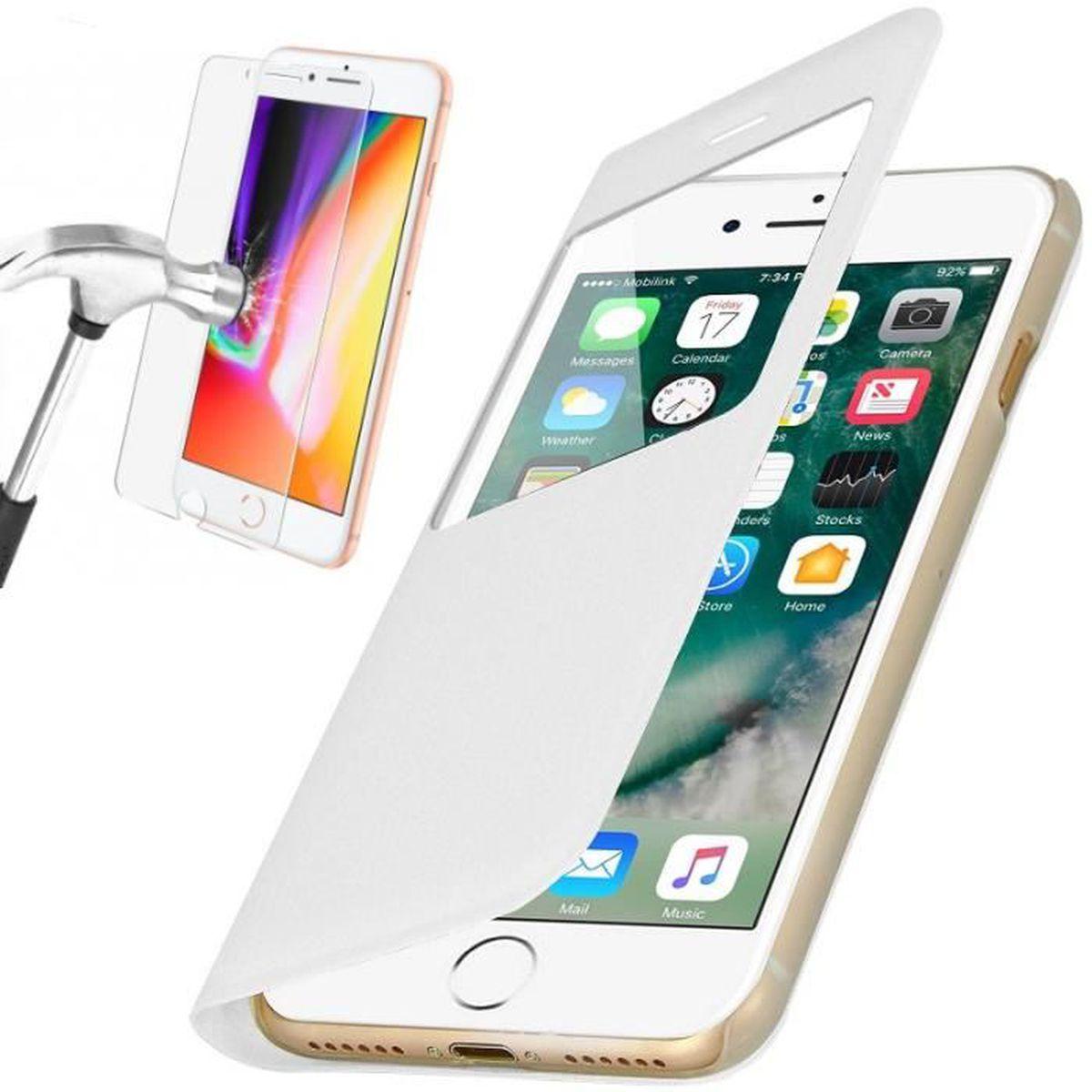 coque iphone 7 plus rabat clapet fenetre blanc v