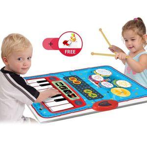 INSTRUMENT DE MUSIQUE Tapis piano et Tambour 2 en 1 Enfants Alimenté par