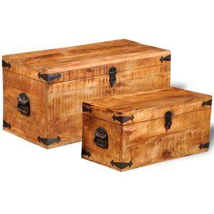 COFFRE - MALLE Ce jeu de 2 coffres de stockage en bois brut de ma