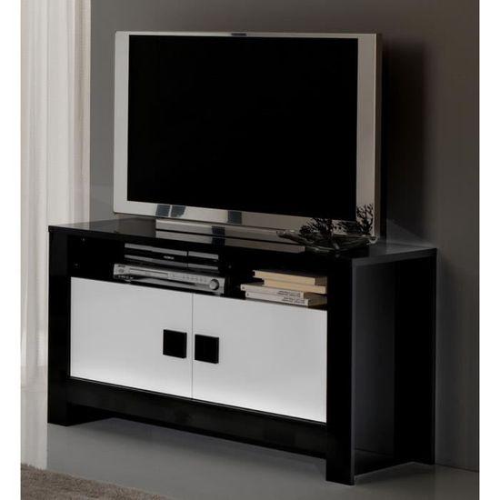 Meuble Tv Pisa Laque Bicolore Noir Blanc Achat Vente
