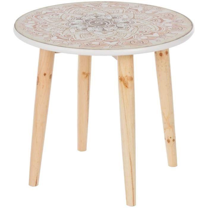 Table basse ronde en bois style shabby chic vintage - Diamètre : 50 cm[905]