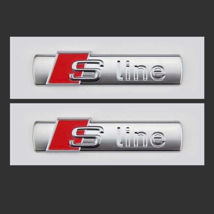 2 x Audi SLine Emblème autocollant argent Sline badge Logo voiture décoration