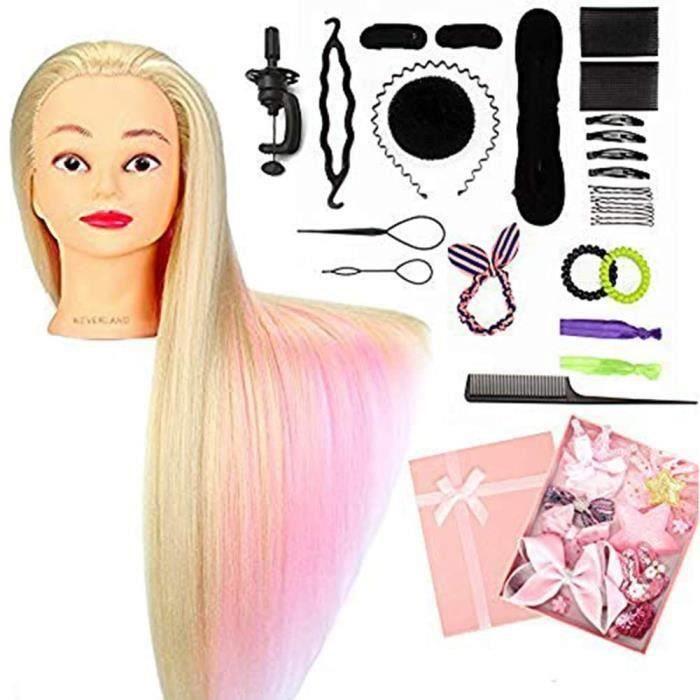 Tête À Coiffer professionnelle Neverland Beauty 66cm Têtes d'exercice Coiffure Cosmétologie Pratique Mannequin Poupée 100% de Cheveu