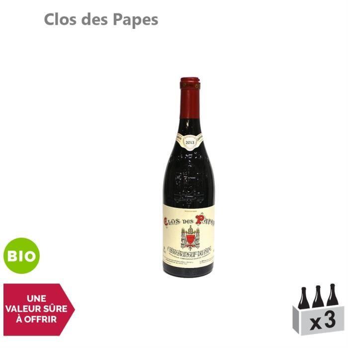 Clos des Papes Châteauneuf-du-Pape Rouge 2013 - Bio - Lot de 3x75cl - Vin AOC Rouge de la Vallée du Rhône - Cépages Grenache,