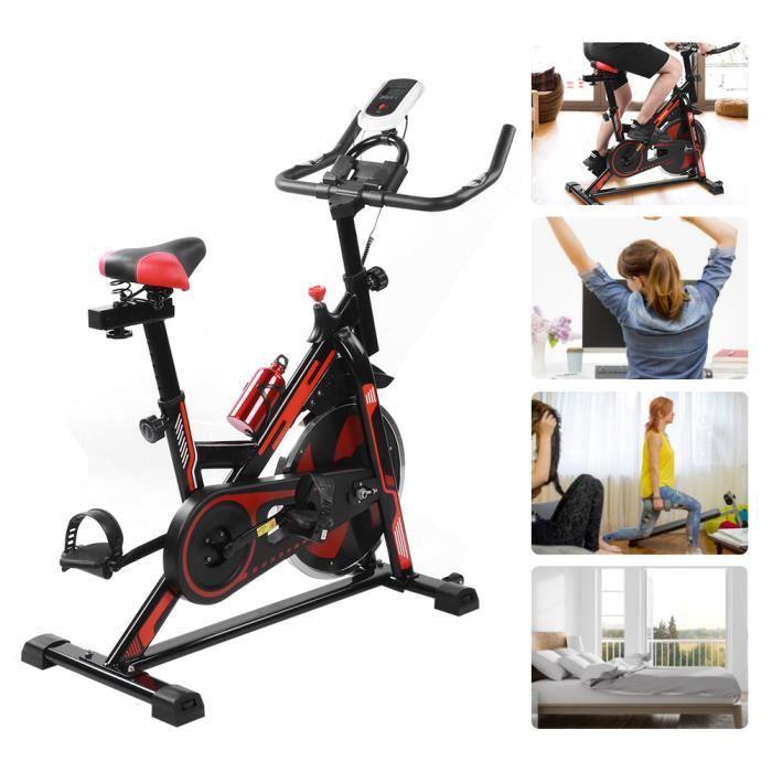 Velo Biking Spinning ,Velo d'appartement Interieur Entrainement avec Porte-Bouteille Volant+Roue inertie 8kg HB010