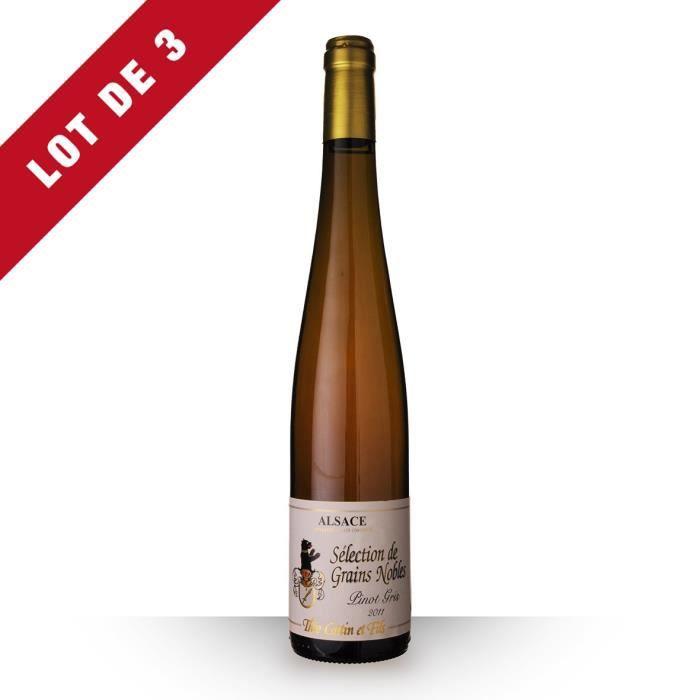 Lot de 3 - Théo Cattin Sélection de Grains Nobles Pinot Gris 2011 AOC Alsace Hatschbourg - 3x50cl - Vin Blanc