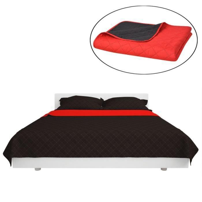 Dessus-de-lit et couettes  Couvre-lit double face matelasse Rouge et noir 230 x 260 cm
