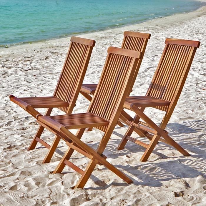 Lot de 4 chaises de jardin pliantes en teck huilé