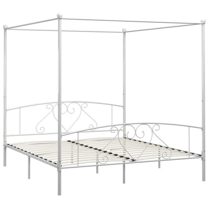 Jardin - Lit adulte à baldaquin - Structure de lit Classique Lit pour 2 personnes Blanc Métal - 180 x 200 cm Style ancien 95048