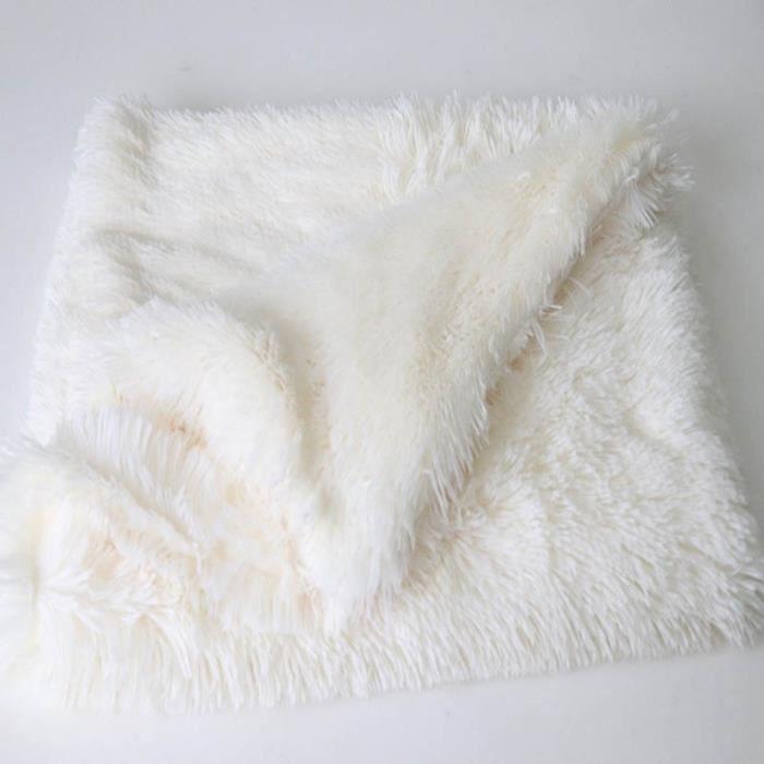 Corbeilles,Matelas couvre lit en peluche pour animaux domestiques Couverture chaude, pour chiens moyens et - Type white-L 100x75cm