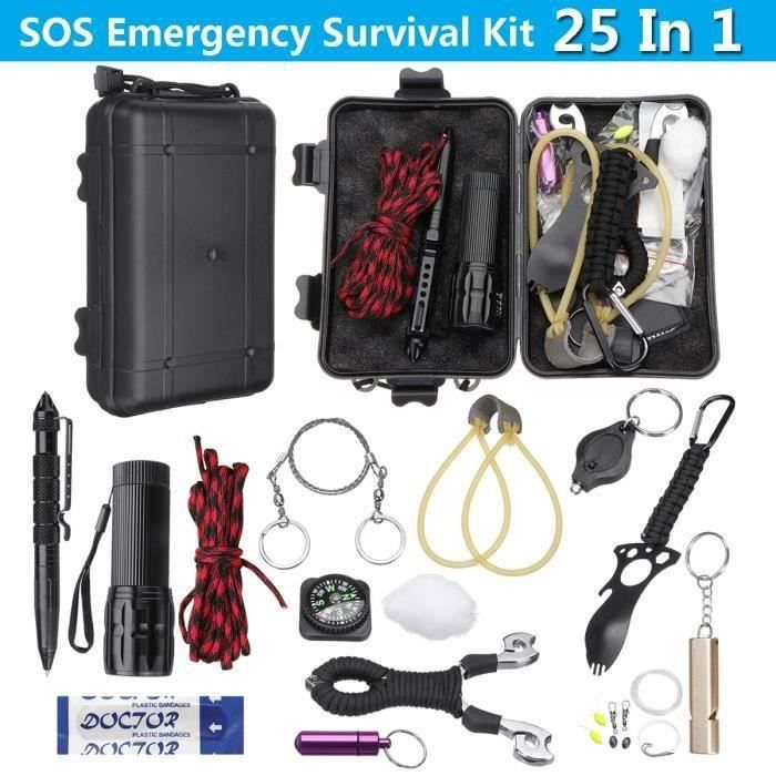 25 pcs Kit de Secours SOS Auto-assistance Survie Extérieure Pêche Aw56459