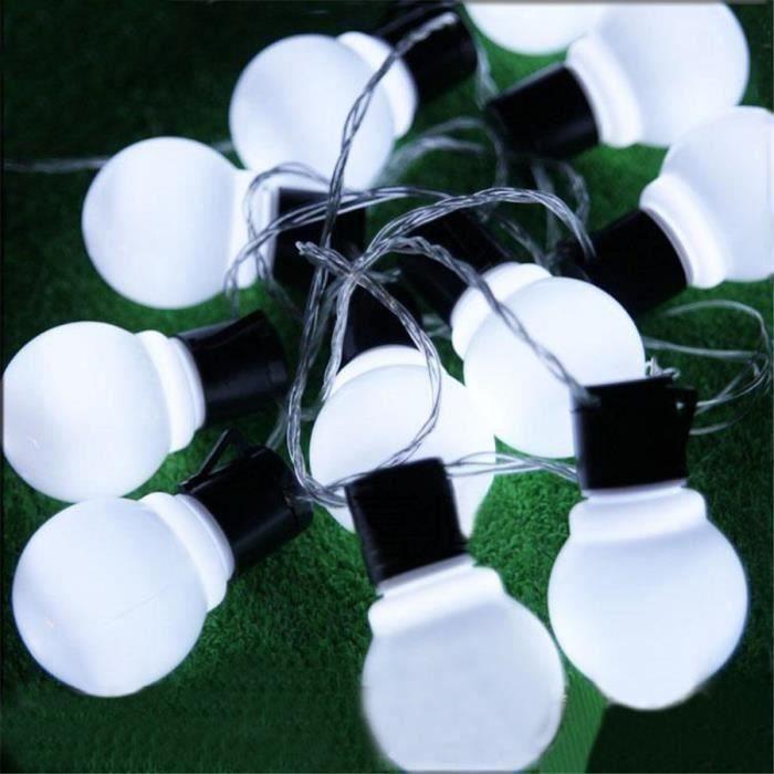 Guirlande Lumineuse extérieur, 20 5CM Grosse Boule LED Ampoules étanche Blanc froid Décoration pour Patio, Jardin, Parti, noël