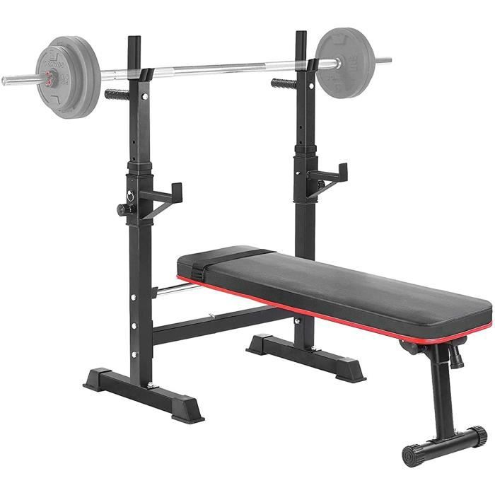 Femor Bancs Musculation Pliable avec Support de Barres Réglable, Repose Barre Musculation, Barre Horizontal Barbell Rack, Barbell Ra