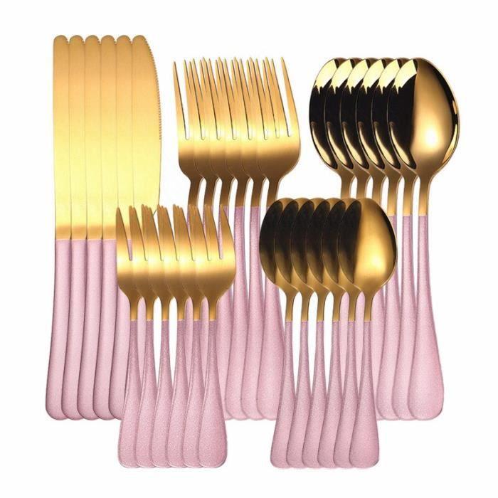 Services de table,Couverts en acier inoxydable,couleur or,vert,service de table de cuisine,cuillère,fourchette - Type pink gold