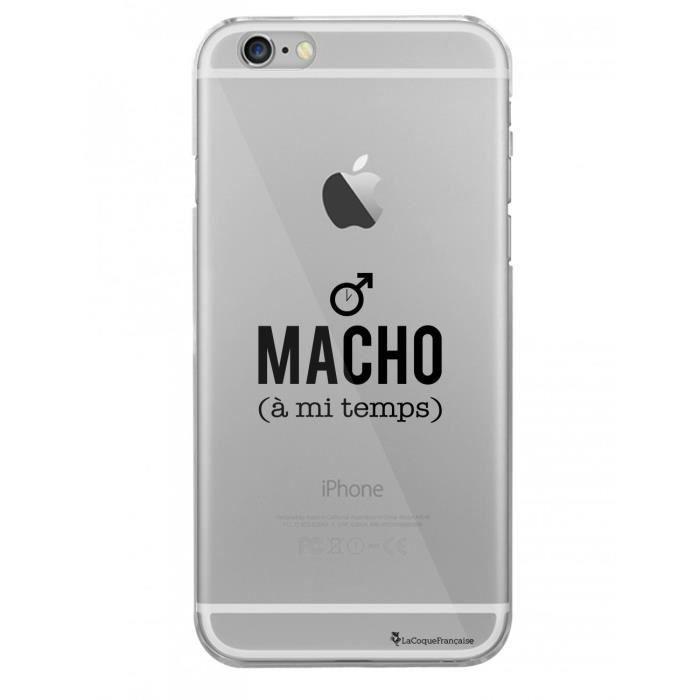 Coque iPhone 6 iPhone 6S rigide transparente Macho a mi temps Ecriture Tendance et Design La Coque Francaise
