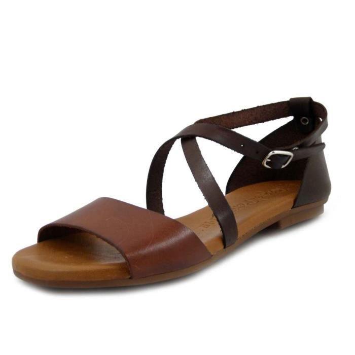 RAQUEL PEREZ, sandale nu pieds, chaussure femme, confort, cuir marron, talon bas