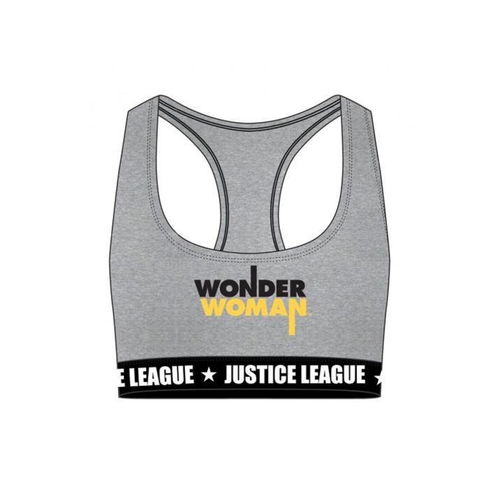 FREEGUN brassière de sport Wonderwoman en gris avec son bouclier pour femme