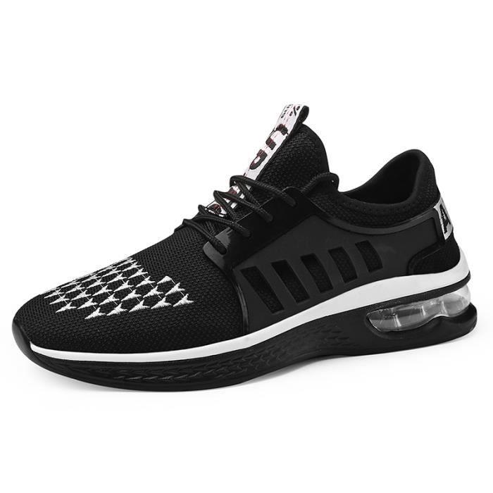 Basket Homme Maille Respirante Air Chaussures de Course Noir-blanc