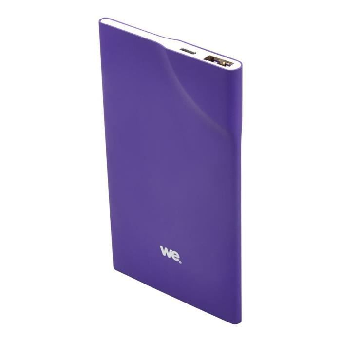 WE Batterie externe 3200mAh 1 port USB 1A - Bouton tactile - Violet