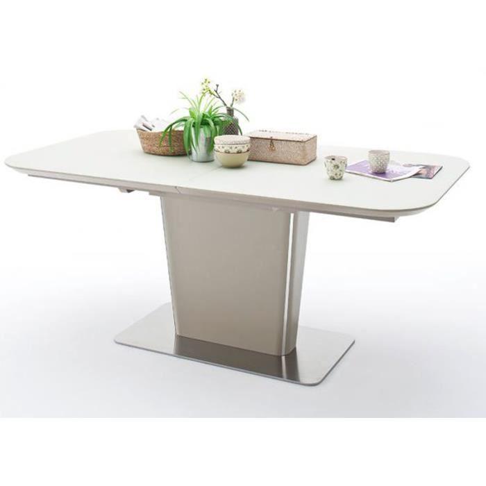 Table à manger extensible laqué taupe mat - 140-180 x 76 x 85 cm