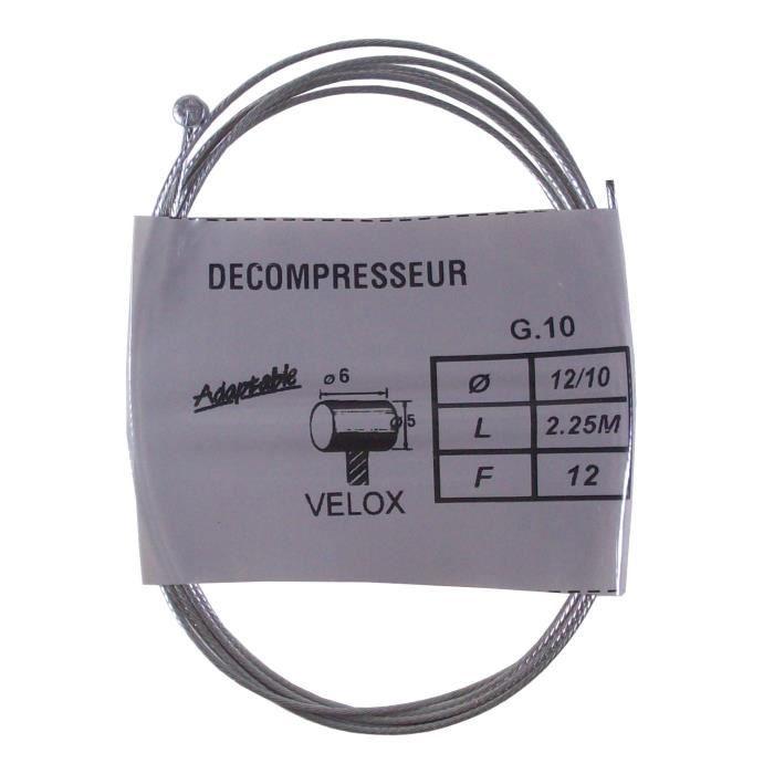 Câble de gaz VELOX mobylette PEUGEOT cyclomoteur CIAO vintage ADAPTABLE acier 1.2 m 2.25 mm embout