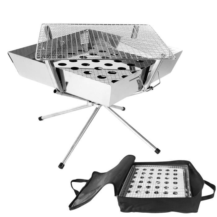 1pc Stainless Steel Barbecue Stove Camp Charcoal Grill Fire Rack Outdoor for Camping Picnic (Silver)