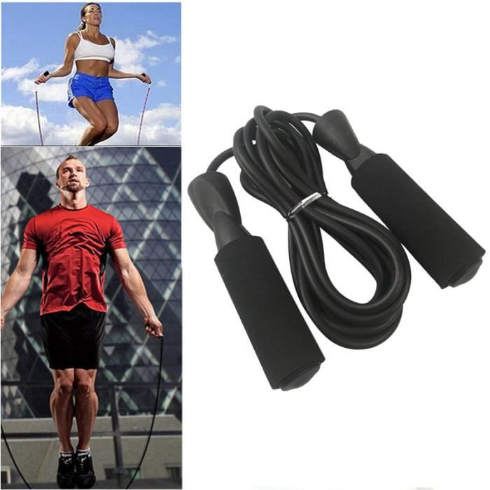 Professionnelle Gym Corde à Sauter Boxe Vitesse Exercice Fitness Noir Portable