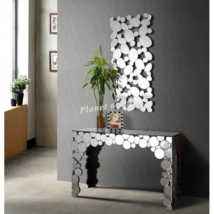 ensemble console et miroir design luna achat vente. Black Bedroom Furniture Sets. Home Design Ideas