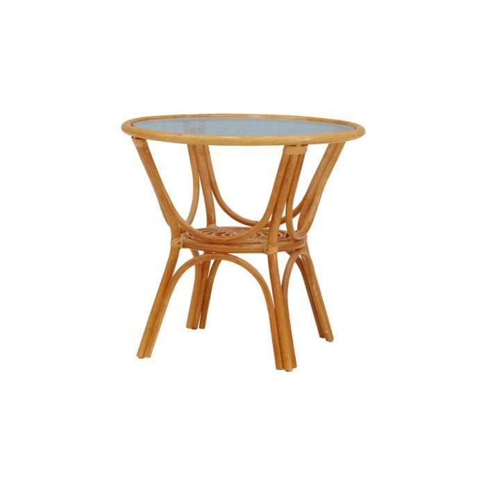 Table ronde rotin miel plateau verre achat vente table for Table ronde rotin plateau verre