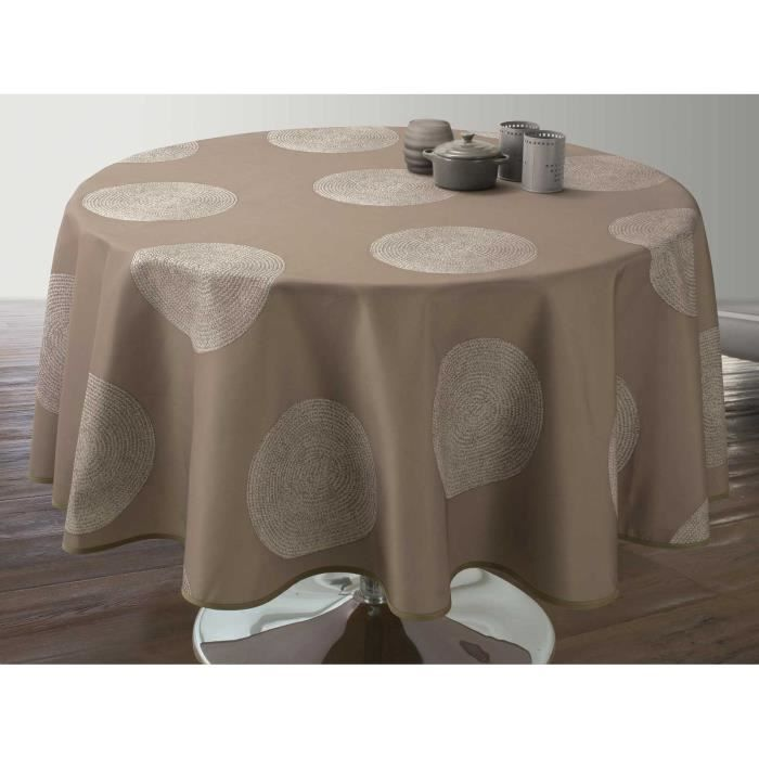 Nappe anti-taches Ovale 150x240 cm - Cercles taupe - Achat / Vente ...