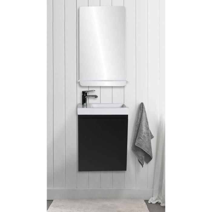 lave mains lisa miroir l40 cm avec tablette blanche noir carbone