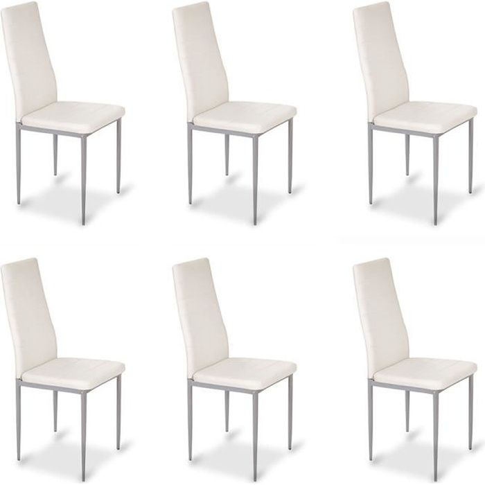 lot de 6 chaises design blanches lena achat vente chaise blanc soldes d s le 27 juin. Black Bedroom Furniture Sets. Home Design Ideas