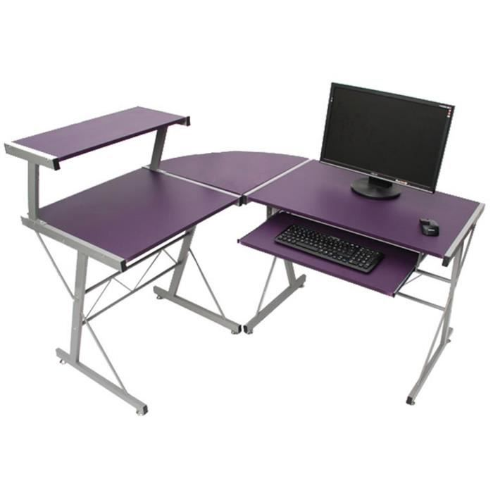 table de bureau et d 39 ordinateur nevada violet achat vente bureau table de bureau. Black Bedroom Furniture Sets. Home Design Ideas
