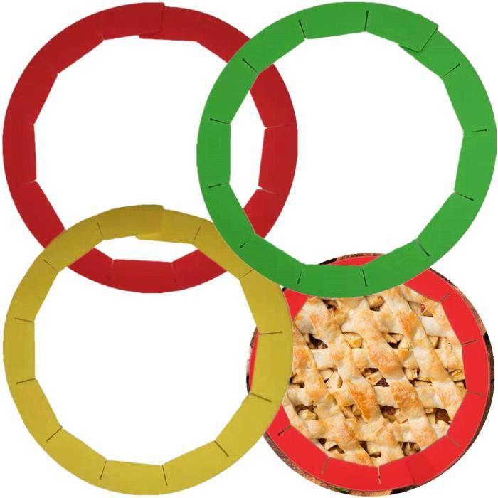 Rouge VHNBVHGKGHJ Boucliers de cro/ûte de Tarte en Silicone Protecteurs de Tarte r/églables adapt/és /à loutil de Cuisson Rouge pour Aliments