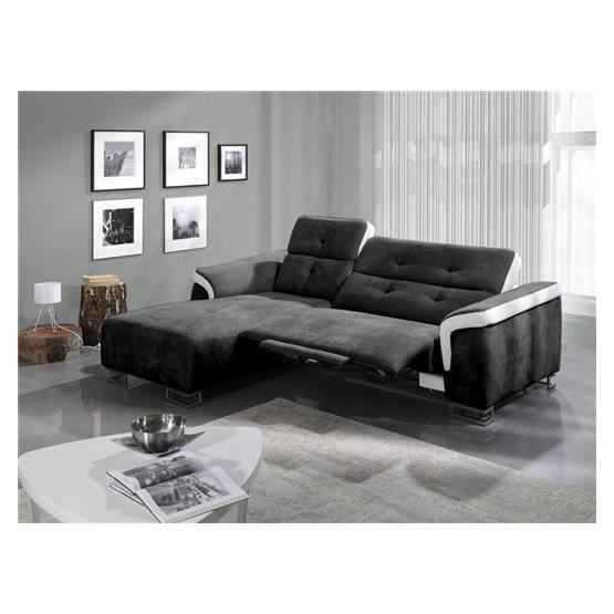 Canap relaxation angelo noir blanc gauche achat vente canap sofa di - Cdiscount canape relax ...