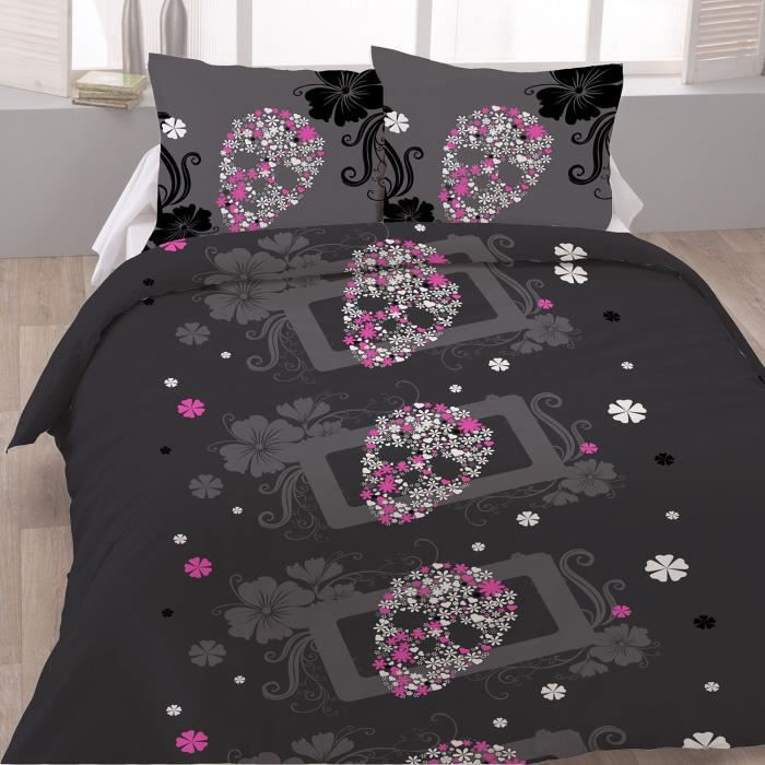 housse de couette en coton 220x240 fancy skull et 2 taies achat vente housse de couette. Black Bedroom Furniture Sets. Home Design Ideas
