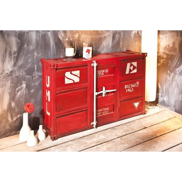 miliboo commode industrielle m tal rouge cargo achat. Black Bedroom Furniture Sets. Home Design Ideas
