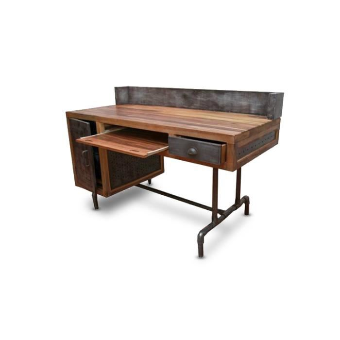 bureau belfast de style industriel en bois et m tal achat vente bureau bureau belfast de. Black Bedroom Furniture Sets. Home Design Ideas