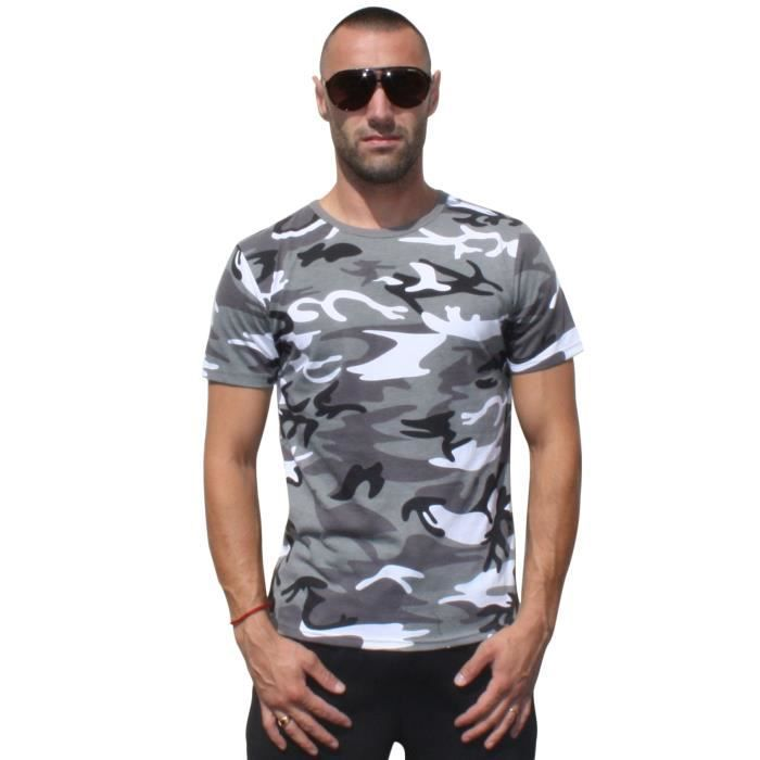 t shirt militaire camouflage blanc achat vente t shirt cdiscount. Black Bedroom Furniture Sets. Home Design Ideas