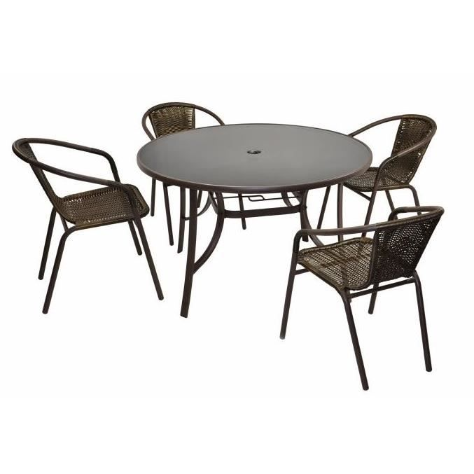 4 chaises bistro empilable table ronde verre 120 cm - Salon de jardin table ronde ...