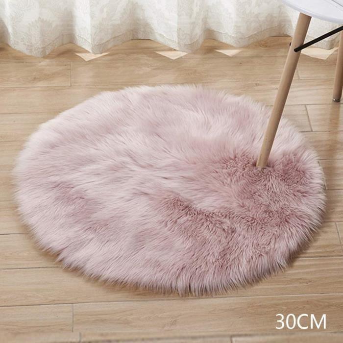 tapis rond en fausse laine artificielle doux et moelleux pour salon chambre d enfant decoration rose 30cm
