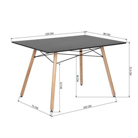 Table Salle à Manger Style Scandinave Table de Cuisine Salon Travail  rectangle rectangulaire Pieds en Bois Noir Table uniquement