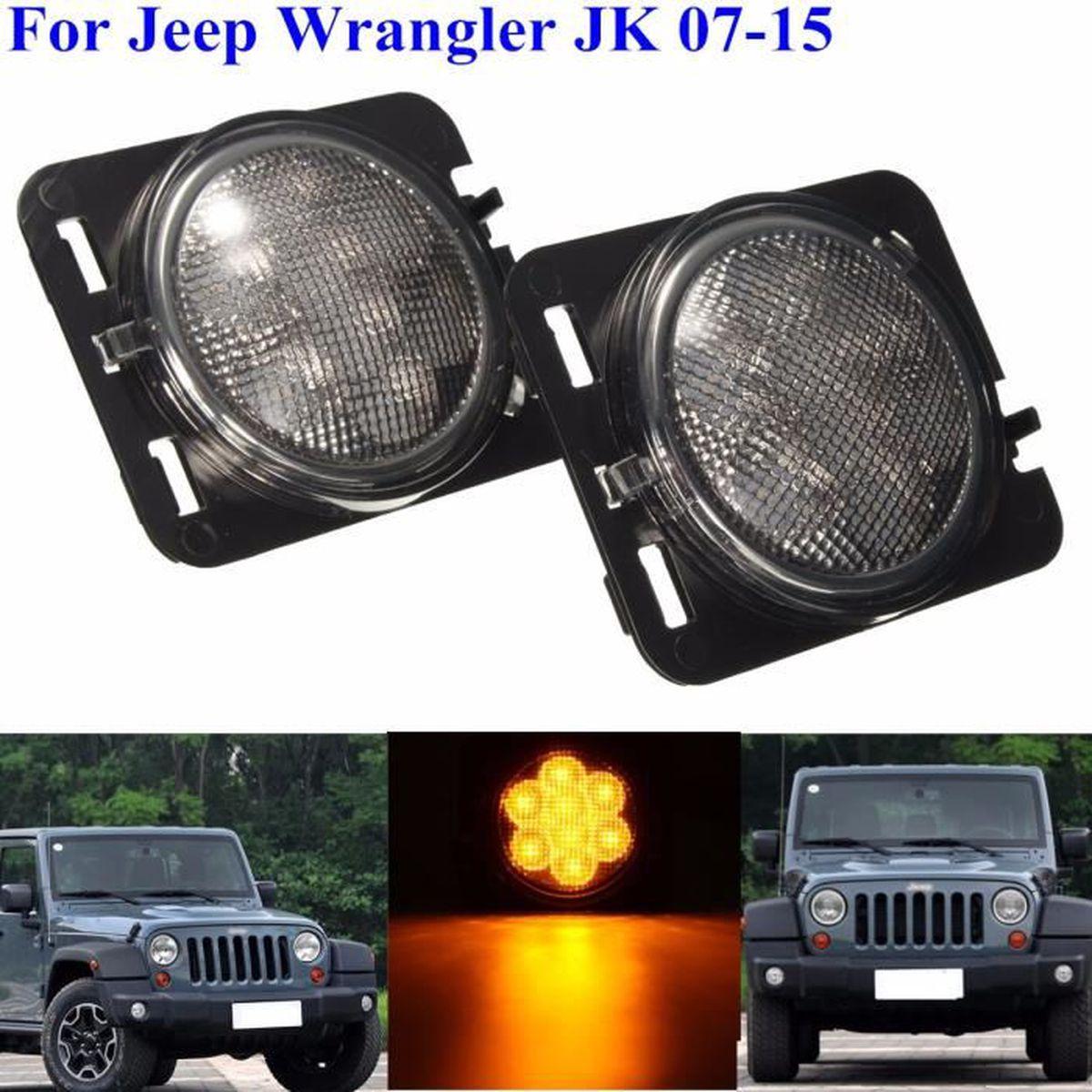 avant Jeep Wrangler JK 2007+ Clignotants sur le côté BLANC Clignotants latéraux Blanc
