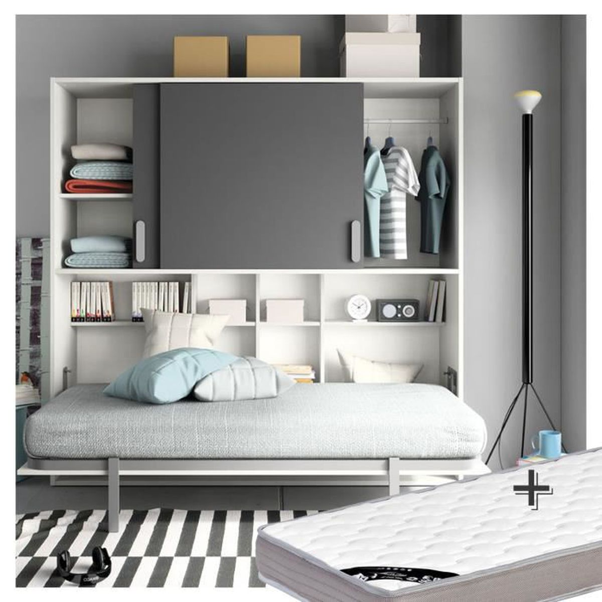 lit abattant 90x190 matelas blanc anthracite achat vente lit escamotable lit abattant. Black Bedroom Furniture Sets. Home Design Ideas