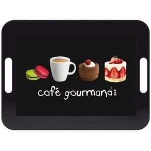 Plateau design caf gourmand noir mati re m lamine achat for Service cafe gourmand ardoise