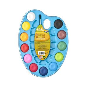 KIT PEINTURE Palette peinture ovale avec 12 pastilles couleur +